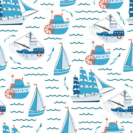 Sea children's seamless pattern with blue sailing ship, yacht, steamship, fishing boat on white background. Cute texture for kids room design, Wallpaper, textiles, wrapping paper. Vector illustration Illustration