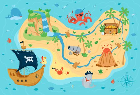 Pirate treasure map for children in cartoon style. Cute concept for kids room design, Wallpaper, textiles, play, apparel. Vector illustration Ilustracja