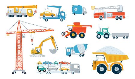 Set working building machine isolated on a white background. Icons kids cars for design of children's rooms, clothing, textiles. Vector illustration