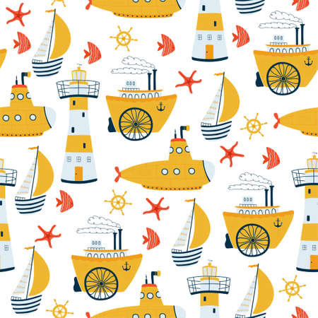 Kids sea seamless pattern with ship, sailboat, lighthouse, submarine, steamship in cartoon style. Cute texture for kids room, Wallpaper, textiles, wrapping paper, apparel. Vector illustration