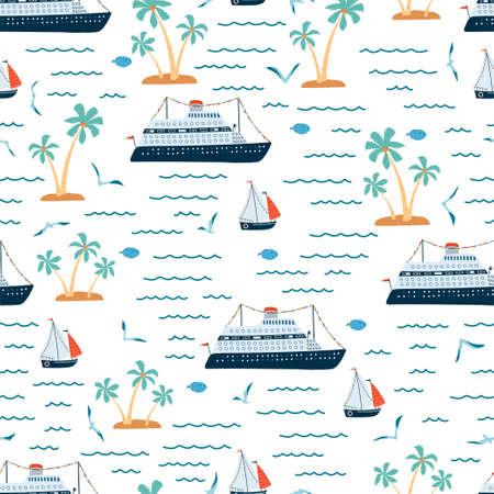 Children's sea seamless pattern with cruise ship, sailboat, palm tree in cartoon style. Cute texture for kids room, Wallpaper, textiles, wrapping paper, apparel. Vector illustration Stock Illustratie
