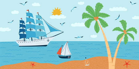 Horizontal background with seascape in flat style . Summer banner with ships, a palm tree, a boat. Vector illustration