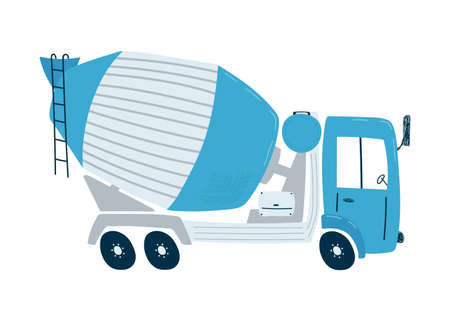 Blue concrete mixer isolated on a white background in flat style. Icons kids cars for design of children's rooms, clothing, textiles. Vector illustration