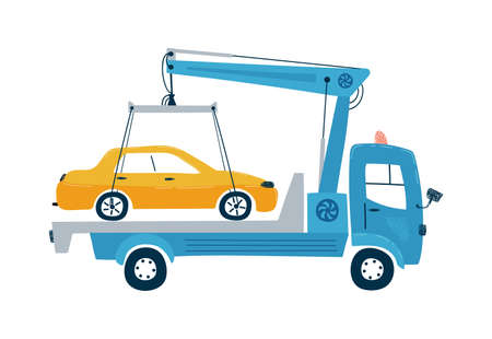 Service car tow truck isolated on a white background in flat style. Ilustração