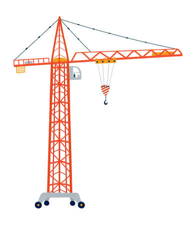Building crane isolated on a white background in flat style.