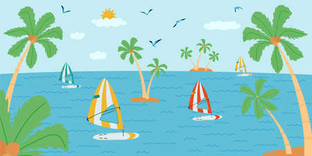 Horizontal background with seascape in flat style . Summer banner with surfing board, palm tree, boat. Vector illustration