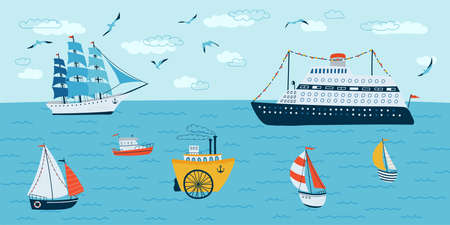 Horizontal background with seascape in flat style . Summer banner with ships, boat. Vector illustration