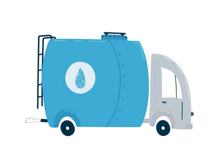 Blue tanker truck with water isolated on a white background in flat style.