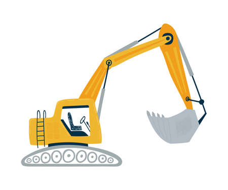 Yellow excavator isolated on a white background in flat style. Ilustração