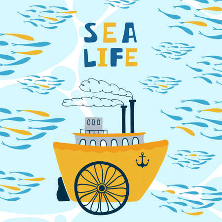 Sea children's poster with steamship and lettering Sea life in cartoon style. Cute concept for kids print.