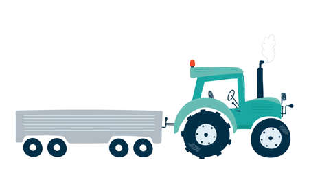 Tractor with trailer isolated on a white background in flat style. Icons kids cars for design of children's rooms, clothing, textiles. Vector illustration