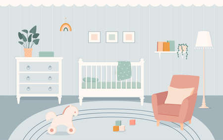 Baby room with furniture in flat style. Nursery and playroom interior with a baby cot in boho style. Vector illustration.