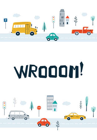 Children's posters with cars and lettering Wrooom in cartoon style. Cute illustrations for children's room design, postcards, prints for clothes. Vector 矢量图像