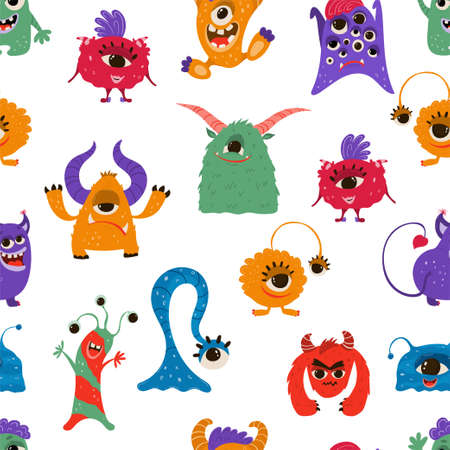 Seamless pattern with funny monsters in cartoon style. Children's background with cute characters for fabric design, Wallpaper, wrapping paper. Vector 矢量图像