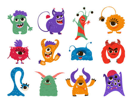 Collection funny monsters in cartoon style. Children's illustration with cute characters isolated on white background. Vector