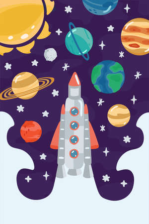Space children's poster with rocket, planets in cartoon style. Cute concept for kids print. Illustration for design kids room postcard, textiles, apparel. Vector Ilustración de vector