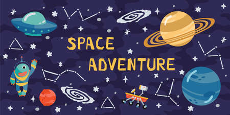 Space horizontal background with rocket, planets, cosmonaut and copy space for your text in cartoon style. Concept banner with the solar system for your design. Vector llustration