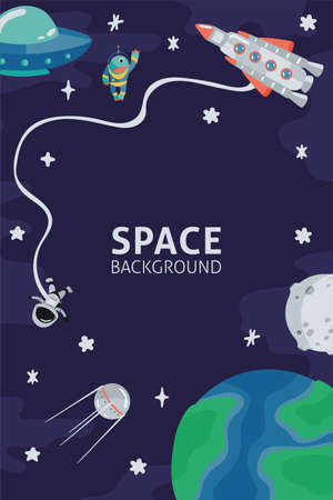 Space template with rocket, planets, cosmonaut and copy space for your text in cartoon style. Cute concept for kids print. Illustration for design kids room postcard, textiles. Vector