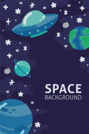Space template with ufo, planets, cosmonaut and copy space for your text in cartoon style. Cute concept for kids print. Illustration for design kids room postcard, textiles. Vector Illusztráció