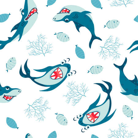 Seamless pattern with Sharks in cartoon style. Comic sharks emotions. Background with funny sea colors for children's room design, clothing, textiles, Wallpaper, digital paper. Vector illustration Ilustracja