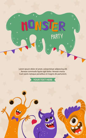 Cute kids poster with monsters in cartoon style. Party invitation template with funny characters. Greeting card for a holiday, birthday. Vector illustration 向量圖像