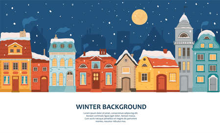 Winter night city in retro style. Christmas background with houses with space for text. Cozy town in a flat style. Cartoon vector illustration.