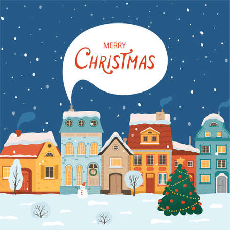 Winter night city in retro style. Christmas background with houses. Cozy town in a flat style for greeting cards. Cartoon vector illustration.
