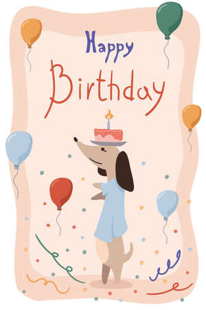 Greeting card with cute Dachshund with cake on your head and balloons. Birthday poster with a funny little dog. Vector illustration in a trendy flat style Çizim
