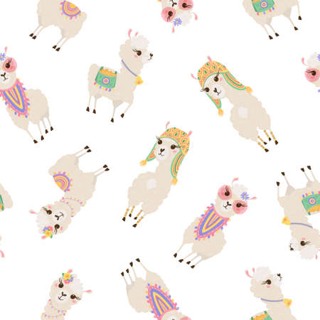 Seamless pattern with cute llamas. Background with funny Alpaca babies for textiles, children's clothing, Wallpaper. Vector illustration Çizim