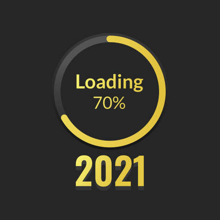New Year's Concept 2021 with circle loading progress bar in gold on a black screen with a 70% number. Vector Illustration Vecteurs