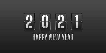 Happy new year 2021. with silver flip clock digits style design. Vector Illustration