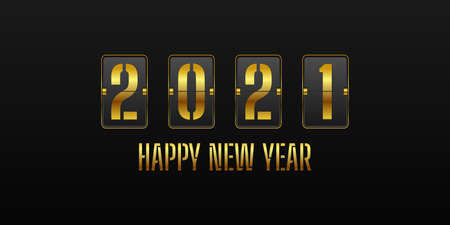 Happy new year 2021. with gold flip clock digits style design. Vector Illustration