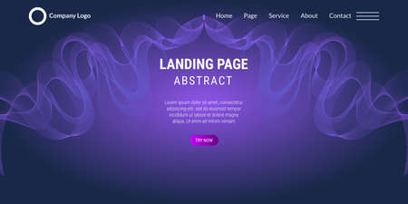 Modern abstract light purple and light blue gradient wavy background. Very useful for landing page, website, poster, etc. Vector Illustration Çizim