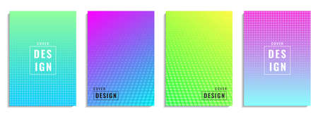 Minimal cover design. Colorful halftone dot shape. Future geometric pattern. Suitable for posters, banners, flyers, etc. Vector Illustration