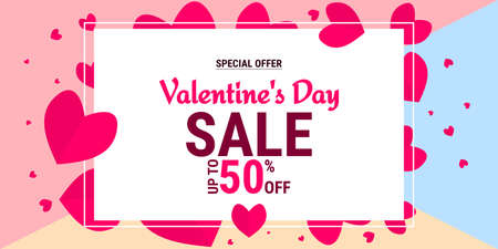 Valentine's day special offer sale background with Heart Shape. Vector illustration