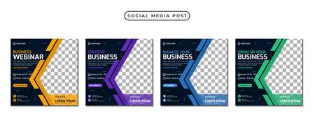 Collection of social media post banner template design. Perfect for business webinar, marketing webinar, online class program, etc Vetores