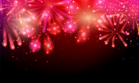 Set of colorful and bright vector fireworks on dark background. Vector illustration for your graphic design.