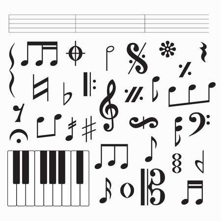 Set of black music signs and symbols, clefs and codas isolated on white background. Vector illustration for your graphic design. Ilustrace