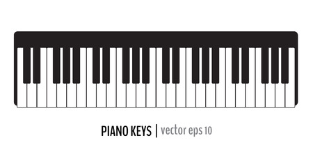Black and white classic piano keys. Vector illustration for your graphic design.  イラスト・ベクター素材