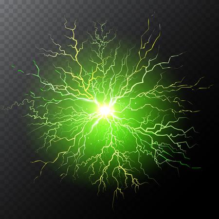 Half transparent lightning bolt on dark transparent background. Green thunderbolt with cloud. Vector illustration for your graphic design. Illustration