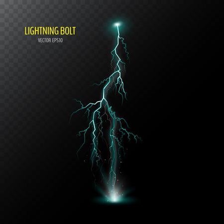 Blue vertical electrical lightning bolt isolated on dark half transparent. Vector illustration for your graphic design. Illustration