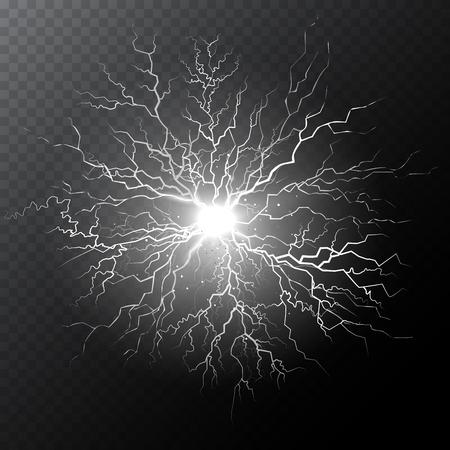 Half transparent lightning bolt on dark transparent background. Thunderbolt with cloud. Vector illustration for your graphic design.