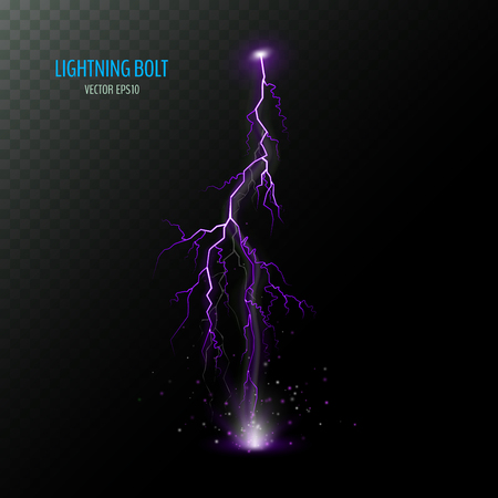 Violet vertical electrical lightning bolt isolated on dark half transparent. Purple thunder bolt. Vector illustration for your graphic design.