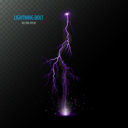 Violetter vertikaler elektrischer Blitz isoliert auf dunklem halbtransparentem. Lila Blitz. Vektorillustration für Ihr Grafikdesign.