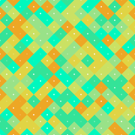 Seamless colorful repetitive pattern with yellow and turquoise pixel squares. Vector illustration for your graphic design. Иллюстрация