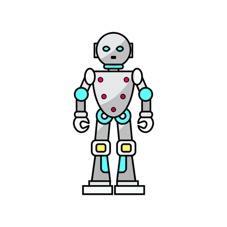 Vector cartoon friendly robot isolated on white background. Vector illustration for your graphic design.