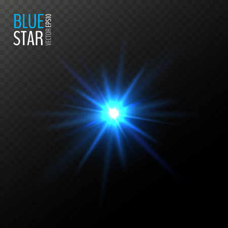 Vector shining blue star. Half transparent shining bright abstract star. Cold blue magic explosion. Vector illustration for your graphic design.  イラスト・ベクター素材