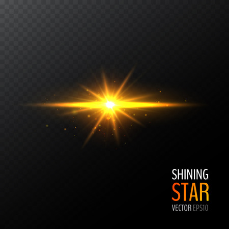 Vector shining sun. Half transparent shining bright abstract star with various particles. Golden magic explosion. Vector illustration for your graphic design.