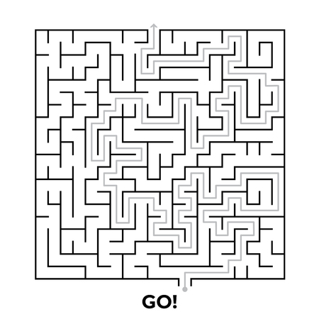 Square maze puzzle isolated on white background. Vector illustration for your graphic design.