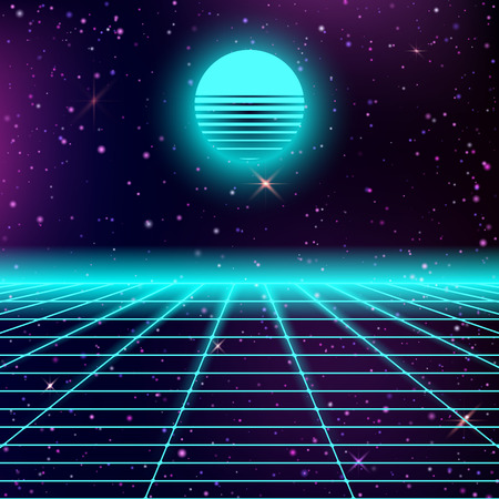 Dark abstract background made in 80s style. Abstract background with neon grids and starry sky and moon or sun in vintage style. Vector illustration for your graphic design.